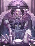1girl absurdres angel_wings bishop_(chess) black_skirt board_game breasts chess chess_piece chessboard closed_mouth expressionless eyebrows_visible_through_hair highres holding holding_staff knight_(chess) long_hair looking_at_viewer medium_breasts original pleated_skirt pointy_ears purple_hair rook_(chess) seemu_(wnslqjdignv_) skirt solo staff thigh-highs violet_eyes white_legwear wings