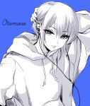 1girl absurdres blue_background character_name commentary_request ear_piercing earbuds_around_neck earrings eyebrows_visible_through_hair fake_nails greyscale hair_between_eyes hand_behind_head highres hood hoodie jewelry looking_at_viewer monochrome otomore_(shashaki) piercing shashaki short_hair sidelocks solo upper_body wire