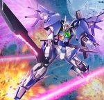 amasaki_yusuke artist_name blue_eyes energy_wings explosion gn_drive gundam gundam_00_sky gundam_build_divers holding holding_sword holding_weapon laser looking_to_the_side mecha mechanical_wings moon no_humans open_hand signature sword weapon wings