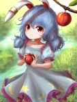 1girl animal_ears apple arms_up blue_dress blue_hair collarbone cowboy_shot crescent_print day dress ear_clip eyebrows_visible_through_hair food frilled_skirt frills fruit grass hair_between_eyes highres holding holding_food holding_fruit kayon_(touzoku) looking_at_viewer low_twintails outdoors puffy_short_sleeves puffy_sleeves rabbit_ears red_eyes seiran_(touhou) short_hair short_sleeves skirt smile solo standing star star_print stream symbol_commentary touhou tree_branch twintails