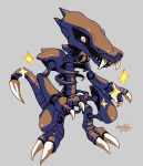 2020 alternate_color beta_pokemon blizzarderful claws commentary creature english_commentary fangs full_body grey_background highres may98_pokemon_401_(xenomorph) no_humans pokemon pokemon_(creature) pokemon_(game) pokemon_gsc pokemon_gsc_beta prototype sharp_teeth shiny_pokemon signature simple_background skeleton solo sparkle teeth