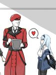 1boy 1girl absurdres beret blue_hair breasts commander_(girls_frontline) faceless faceless_male girls_frontline hat heart highres imminent_hug jacket large_breasts long_hair out_of_frame outstretched_arms red_eyes silvestri0385 spoken_heart thunder_(girls_frontline) very_long_hair