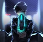1boy aiming aiming_at_viewer black_hair black_jacket blurry chain-link_fence chixi depth_of_field dominator_(gun) fence formal glowing glowing_weapon green_eyes ground_vehicle gun holding holding_gun holding_weapon jacket long_sleeves looking_at_viewer male_focus night outstretched_arms parody psycho-pass solo suit train tsuji_shinnosuke upper_body weapon wind world_trigger