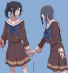 2girls :o bangs black_hair blue_background blue_neckwear brown_eyes brown_skirt cardigan closed_mouth commentary_request facing_viewer from_side hair_between_eyes hibike!_euphonium holding_hand kasaki_nozomi liz_to_aoi_tori long_hair long_sleeves looking_at_another looking_down multiple_girls neckwear parted_lips ponytail red_string ree_(re-19) sailor_collar school_uniform serafuku sidelocks simple_background skirt standing string thread uniform white_sailor_collar yoroizuka_mizore