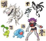 1girl :d bangs black_eyes black_skirt breasts claws commentary creature earrings english_commentary evil_smile fangs full_body highres holding holding_poke_ball jewelry jumping legs_apart looking_at_viewer may98_pokemon_300_(flautist) may98_pokemon_401_(xenomorph) midriff miniskirt mitei01_(sunkern) navel no_humans open_mouth poke_ball poke_ball_(generic) pokemon pokemon_(creature) pokemon_(game) pokemon_gsc pokemon_gsc_beta red_eyes sharp_teeth shenanimation short_hair simple_background skeleton skirt small_breasts smile sprite standing team_rocket team_rocket_grunt team_rocket_uniform teeth uniform violet_eyes walking white_background white_footwear