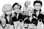 4boys alternate_hairstyle anger_vein angry blood blood_on_face bloody_clothes cuts dirty_clothes furrowed_eyebrows greyscale ikoma_tatsuhito injury long_sleeves looking_at_viewer looking_away looking_down male_focus middle_finger minamisawa_kai mizukami_satoshi_(world_trigger) mole mole_under_eye monochrome multiple_boys nama_(myouko) nosebleed oki_kouji open_mouth short_sleeves side-by-side spiky_hair thumbs_down upper_body visor_cap widow's_peak world_trigger