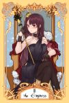 1girl absurdres armchair black_dress black_gloves black_legwear blush breasts cape chair cloak cloak_lift collarbone crown dress english_text fur fur_cape girls_frontline gloves hair_ornament highres huge_filesize jewelry long_hair looking_at_viewer medium_breasts pantyhose purple_hair red_eyes ribbon rod scepter simple_background sitting sitting_on_object solo stigmamyu tarot the_empress thigh-highs wa2000_(girls_frontline)