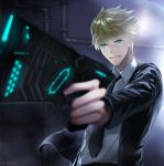 1boy aiming black_jacket black_neckwear blurry chixi collared_shirt depth_of_field dominator_(gun) formal glowing glowing_eyes glowing_weapon green_eyes gun holding holding_gun holding_weapon inukai_sumiharu jacket long_sleeves male_focus necktie open_clothes open_jacket outstretched_arm parody pipes psycho-pass shirt smile solo suit upper_body wall weapon world_trigger