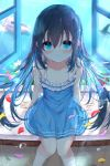 1girl arm_support bangs bare_arms bare_shoulders black_hair blue_dress blue_eyes blurry blurry_background blush bubble closed_mouth commentary_request depth_of_field dress eyebrows_visible_through_hair flower frilled_dress frills hair_between_eyes highres kouda_suzu long_hair open_window original petals petals_on_liquid purple_flower red_flower sitting sleeveless sleeveless_dress smile soaking_feet solo very_long_hair water white_flower window yellow_flower