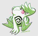 commentary english_commentary green_theme mike_luckas monochrome pokemon pokemon_(game) pokemon_gsc pokemon_gsc_beta politoed_(prototype) sitting spiral