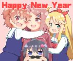 4girls :3 :d black_hair blonde_hair blue_eyes blush bow brown_eyes brown_hair commentary_request dress english_text eyebrows_visible_through_hair fake_facial_hair fake_mustache fang flower green_eyes hair_bow hair_flower hair_ornament hairband hairband_bow hairpin happy_new_year highres himesaka_noa hoshino_hinata hoshino_miyako_(wataten) hug jacket looking_at_viewer mitsukiro multiple_girls new_year open_mouth red_bow red_hairband sailor_collar sailor_dress school_uniform shirosaki_hana simple_background smile track_jacket watashi_ni_tenshi_ga_maiorita! white_sailor_collar