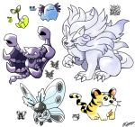:d beta_pokemon black_eyes claws commentary creature english_commentary fangs full_body gooompy highres kotora_(pokemon) lion looking_at_viewer madame_(wooper) may98_pokemon_349_(lion) may98_pokemon_383_(bagworm_2) mitei01_(sunkern) no_humans open_mouth pokemon pokemon_(creature) pokemon_(game) pokemon_gsc pokemon_gsc_beta prototype signature simple_background smile sprite white_background yellow_eyes