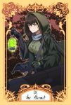 1girl absurdres black_gloves breasts brown_eyes brown_hair cloak elbow_gloves english_text girls_frontline gloves highres hood hooded_cloak lamp long_hair looking_at_viewer m4a1_(girls_frontline) multicolored_hair roman_numerals simple_background solo stigmamyu strapless tarot the_hermit_(tarot_card)