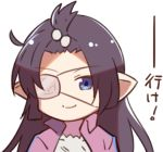 1girl arito_arayuru black_hair blue_eyes commentary_request eyepatch granblue_fantasy jacket long_hair looking_at_viewer lowres lunalu_(granblue_fantasy) pointy_ears simple_background smile solo track_jacket translation_request white_background