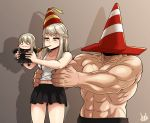 0_0 1boy 2girls :3 borrowed_character braid breasts carrying chibi commentary_request french_braid hat highres jmg korean_commentary long_hair medium_breasts miniskirt multiple_girls muscle navel original party_hat party_popper platinum_blonde_hair shadow signature skirt tank_top traffic_cone white_tank_top yellow_eyes