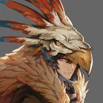 1boy beak bird_hood brown_eyes brown_hair feather_trim granblue_fantasy grey_background highres male_focus nezahualpilli one_eye_covered portrait saku_(sakudeji)