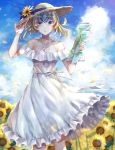 1girl absurdres bangs bare_shoulders blonde_hair blue_eyes blue_sky blush breasts collarbone contemporary diadem dress fate/grand_order fate_(series) field flower flower_field hat highres hitomin_(ksws7544) jewelry looking_at_viewer map medium_hair necklace parted_lips pendant petals pollux_(fate/grand_order) sky small_breasts straw_hat sunflower white_dress wind wind_lift