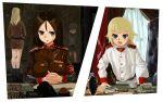 4girls artist_request black_hair blonde_hair blue_eyes breasts clara_(girls_und_panzer) command_and_conquer cup emblem flag girls_und_panzer ground_vehicle hairband highres katyusha_(girls_und_panzer) kv-2 long_hair military military_vehicle motor_vehicle multiple_girls nina_(girls_und_panzer) nonna_(girls_und_panzer) pravda_(emblem) short_hair soviet_union tank teacup window