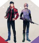 2boys bangs black_hair blue_eyes blunt_bangs boots brown_hair full_body gloves gun hand_on_hip height_difference holding holding_gun holding_weapon jacket long_sleeves looking_at_viewer lupicam male_focus multiple_boys narasaka_touru pants pompadour purple_gloves rifle side-by-side standing touma_isami uniform weapon world_trigger
