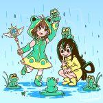 1girl asui_tsuyu boku_no_hero_academia cardcaptor_sakura clear_card colorful costume crossover frog frog_girl full_body kinomoto_sakura sarahrichford simple_background