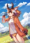 1girl animal_ear_fluff animal_ears bangs black_gloves blue_sky bottle brown_eyes brown_hair buruma clouds commentary_request cowboy_shot day drinking dutch_angle extra_ears eyebrows_visible_through_hair gloves horizontal_pupils horns jacket kemono_friends litter1152 long_sleeves medium_hair multicolored_hair official_art open_clothes open_jacket orange_hair orange_jacket outdoors pronghorn_(kemono_friends) shirt sky solo track_jacket water water_bottle white_hair white_shirt yellow_buruma