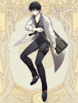 1boy bag black_footwear black_hair black_neckwear black_pants black_shirt dairoku_youhei full_body grey_eyes hair_between_eyes handbag jacket l_(matador) male_focus necktie pants scalpel shirt simple_background solo syringe thigh_pouch thigh_strap yellow_background