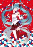 1girl :d aqua_eyes aqua_hair arm_up asymmetrical_legwear bare_shoulders boots breasts cable checkered checkered_skirt detached_sleeves hatsune_miku highres holding holding_microphone jumping long_hair microphone open_mouth pleated_skirt red_legwear red_skirt saine shirt skirt sleeveless sleeveless_shirt small_breasts smile solo thigh-highs thigh_boots twintails very_long_hair vocaloid white_legwear white_shirt white_sleeves