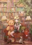banner birdhouse blonde_hair blue_eyes book book_stack bookshelf boots box bug butterfly cable cat commentary couch expressionless flower framed_image green_jacket headphones hekicha highres holding holding_book insect jacket jacket_on_shoulders jar kagamine_len knee_up ladder lamp library light_bulb light_particles neck_ribbon pillow plant potted_plant ribbon rug shirt short_shorts shorts sitting spiky_hair star study_(room) stuffed_animal stuffed_toy suspender_shorts suspenders teddy_bear vocaloid white_butterfly white_shirt wooden_floor