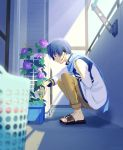 1boy balcony basket black_footwear blue_eyes blue_hair blue_scarf blurry_foreground bottle brown_pants coat commentary flower from_side headset holding holding_bottle kaito laundry_basket male_focus microphone morning morning_glory nokuhashi pants purple_flower sandals scarf squatting vocaloid watering white_coat