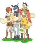 2boys 2girls antlers aqua_hair bag black_hair blue_hair boots braid brown_hair christmas coat female_protagonist_(persona_3) hat mochizuki_ryouji mole multiple_boys multiple_girls persona persona_3 persona_3_portable persona_4:_the_ultimate_in_mayonaka_arena ponytail red_nose reindeer_antlers santa_hat scarf sutei_(giru) winter_clothes winter_coat yamagishi_fuuka yuuki_makoto