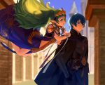 1boy 1girl armor black_gloves blue_eyes blue_hair braid byleth_(fire_emblem) byleth_(fire_emblem)_(male) cape closed_mouth dagger fire_emblem fire_emblem:_three_houses from_side gloves green_eyes green_hair highres long_hair open_mouth pointy_ears ribbon_braid saba3s0s4 sheath sheathed short_hair sothis_(fire_emblem) tiara twin_braids weapon