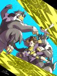 1girl black_eyes black_hair brown_eyes brown_hair claws closed_mouth commentary_request creature fighting_stance jumping kicking legendary_pokemon mixar0807 pokemon pokemon_(creature) pokemon_(game) pokemon_swsh signature tied_hair urshifu urshifu_(rapid) urshifu_(single) yuuri_(pokemon)