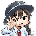 1girl avatar_icon bow brown_hair chamaji commentary eyebrows_visible_through_hair fedora hair_bow hat hat_bow hat_ribbon long_sleeves looking_at_viewer lowres necktie ok_sign red_neckwear ribbon shirt short_hair signature solo touhou upper_body usami_renko white_background white_bow white_shirt