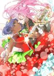 2girls blue_eyes crown dark_skin drawing_sword dress epaulettes face-to-face glasses green_eyes hair_blowing highres himemiya_anthy holding holding_sword holding_weapon imminent_kiss jewelry light_particles long_hair looking_at_another multiple_girls pink_hair purple_hair red_dress ring shoujo_kakumei_utena sparkle sword tenjou_utena toumei328 weapon yuri