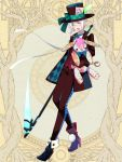 1boy :d black_headwear black_pants boots bow dairoku_youhei earrings elf formal full_body hair_between_eyes hat hat_bow hat_feather high_heel_boots high_heels holding holding_scythe holding_stuffed_animal jewelry l_(matador) male_focus open_mouth pants pocket_watch pointy_ears red_vest scythe simple_background smile solo standing stuffed_animal stuffed_bunny stuffed_toy suit vest watch white_hair yellow_background