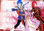 1girl 2boys blue_eyes blue_hair cape circlet dress fire_emblem fire_emblem:_genealogy_of_the_holy_war gloves headband highres julia_(fire_emblem) julius_(fire_emblem) ku_zensen locked_arms long_hair multiple_boys pauldrons purple_dress purple_hair red_eyes redhead ribbon-trimmed_clothes ribbon_trim seliph_(fire_emblem) shoulder_pads siblings violet_eyes white_gloves