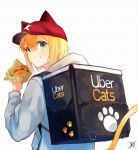 1girl animal_ears aqua_eyes baseball_cap blonde_hair cat_ears cat_girl cat_tail commentary eating english_commentary eyebrows_visible_through_hair food food_delivery_box food_on_face from_behind grey_hoodie hair_between_eyes hamburger hat highres looking_back original short_hair signature simple_background solo tail traditional_media tsubameno uber_eats upper_body white_background
