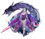 1girl ark_order breasts eyes_visible_through_hair glowing glowing_weapon grey_hair holding holding_sword holding_weapon horns katana large_breasts long_hair monster parted_lips red_cucumber red_eyes solo sword talisman tattoo toenails veins weapon wide_sleeves