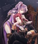 1boy 1girl belt black_cape black_coat cape coat collar couple dress elbow_gloves facial_mark fire_emblem fire_emblem:_genealogy_of_the_holy_war forehead_mark gloves hug ishtar_(fire_emblem) julius_(fire_emblem) long_hair purple_dress purple_hair red_eyes redhead shoulder_pads side_ponytail side_slit sitting violet_eyes white_gloves