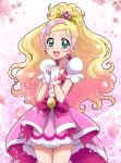 1girl :d bangs blonde_hair bow choker collarbone cowboy_shot cure_flora dress earrings floating_hair gloves go!_princess_precure gradient_hair green_eyes hanzou high_ponytail highlights highres jewelry layered_dress long_hair looking_at_viewer multicolored_hair open_mouth parted_bangs pink_dress pink_hair precure red_bow short_dress smile solo sparkle standing very_long_hair white_gloves