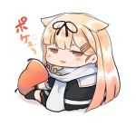 1girl :3 absurdres black_ribbon black_serafuku blonde_hair chibi commentary_request dyson_(edaokunnsaikouya) from_behind hair_flaps hair_ornament hair_ribbon hairclip highres kantai_collection long_hair looking_at_viewer no_nose orange_eyes pillow remodel_(kantai_collection) ribbon scarf school_uniform serafuku simple_background sitting smile solo white_background white_scarf yuudachi_(kantai_collection)