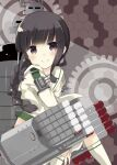 1girl bangs between_legs braid braided_ponytail closed_mouth commentary_request eyebrows_visible_through_hair eyes_visible_through_hair from_side gears hand_between_legs hexagon kantai_collection kitakami_(kancolle) kurata_yumi light light_particles long_hair long_sleeves looking_at_viewer machinery red_background remodel_(kantai_collection) school_uniform serafuku shadow sidelocks sitting smile socks solo torpedo_launcher torpedo_tubes violet_eyes