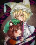 2girls abstract abstract_background animal_ears blonde_hair blurry brown_hair cat_ears chen close-up commentary_request eyebrows_behind_hair eyes fangs fox_ears frilled_sleeves frills from_behind gap green_headwear hand_on_another's_shoulder hand_up hat headwear hisuipechika long_sleeves looking_at_viewer looking_back multicolored multicolored_eyes multiple_girls nail nail_polish ofuda open_mouth perfect_cherry_blossom pillow_hat pink_nails red_nails short_hair slit_pupils tabard touhou upper_body wide_sleeves yakumo_ran yellow_eyes
