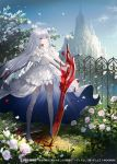 1girl bare_shoulders blood blood_sword blue_sky castle cinkai closed_mouth clouds collarbone cover crystal dress fence flower grey_eyes highres holding holding_sword holding_weapon long_hair neck_scar ocean original outdoors petals pink_flower pink_rose rose scar silver_hair sky smile solo standing sword very_long_hair water weapon white_dress white_footwear white_legwear wind