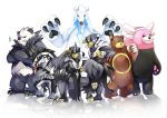 bear beartic bewear claws commentary_request creature crossed_arms fighting_stance full_body galarian_form gen_2_pokemon gen_5_pokemon gen_6_pokemon gen_7_pokemon gen_8_pokemon legendary_pokemon looking_at_viewer no_humans obstagoon open_arms osomatsu1ban pangoro pokemon pokemon_(creature) refelction serious simple_background standing tongue tongue_out ursaring urshifu urshifu_(rapid) urshifu_(single) white_background