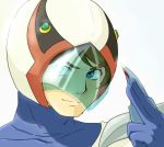 1boy blue_eyes blue_gloves brown_hair closed_mouth gatchaman gloves hand_up helmet ken_the_eagle looking_at_viewer male_focus oldschool simple_background smile solo visor weapon white_background