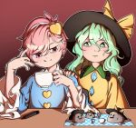 2girls blouse blue_blouse blush bow coffee_cup commentary_request counter cup diamond_(shape) disposable_cup drinking_straw eyebrows_visible_through_hair frills gradient gradient_background green_eyes green_hair hair_between_eyes hairband hand_on_another's_shoulder hands_up hat hat_bow heart holding holding_cup komeiji_koishi komeiji_satori lime_slice long_hair looking_at_another marker mefomefo multiple_girls pink_eyes pink_hair rock short_hair smile sweat tablecloth touhou trembling upper_body worried yellow_blouse