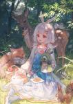 1girl animal apple bird blue_dress bow bug butterfly commentary commentary_request copyright_request deer dress flower food fox fruit grass highres insect leaf maccha_(mochancc) pineapple red_eyes shoes squirrel tagme white_hair