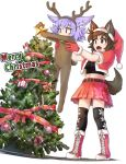 :d animal_costume animal_ears ankle_boots antlers black_legwear boots brown_hair christmas christmas_lights christmas_tree cross-laced_footwear dog_child_(doitsuken) dog_ears dog_girl_(doitsuken) dog_tail doitsuken ears_down eyebrows_visible_through_hair fur-trimmed_boots fur-trimmed_headwear fur-trimmed_vest fur_trim glint hat holding longcat open_mouth original pleated_skirt red_footwear red_headwear red_skirt red_vest reindeer_antlers reindeer_costume santa_costume santa_hat short_hair simple_background skirt smile tail thigh-highs vest white_background