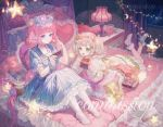 +_+ 2girls animal_ears bed bed_sheet book bow cat_ears cat_girl christmas_lights commentary commission copyright_request cup flower food green_eyes hair_bow hair_ribbon heart heart_pillow highres lamp leggings maccha_(mochancc) moon multiple_girls pillow pink_hair ribbon star symbol_commentary tagme white_hair
